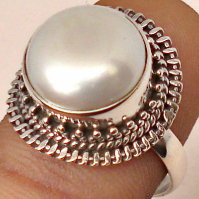 Antique Large Pearl Ring Silver Plated Rope Twisted Wedding Gifts Ring Size 6-10