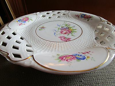 Large Hollohaza Reticulated Floral Wall Plate/platter Hand Painted Hungary