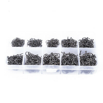 500pcs Fish Jig Hooks with Hole Fishing Tackle Box 10 Sizes Carbon Steel T1 US