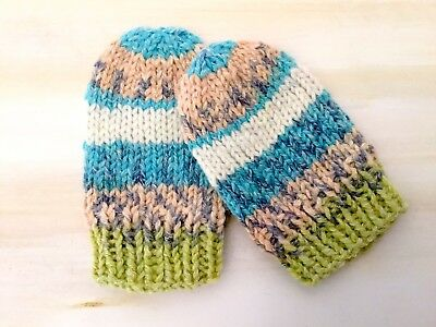 Hand Knit Baby 4 - 12 months Wool Cotton Blend Baby Mittens Gloves Fair Isle