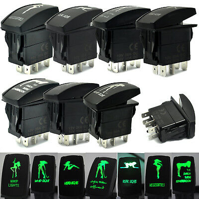 New Switch ON/OFF Green LED Car Boat Truck Bar Rocker Toggle 12V 20A 5P