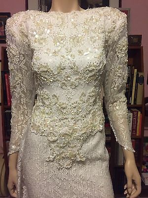 Vintage DEMETRIOS Low V Back SEQUINS PEARLS LACE Fitted Bridal Wedding Dress