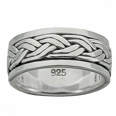 Braid Band Twisted Rope Spinner Ring 8.3 - 11g 925 Sterling Silver 9mm BELDIAMO