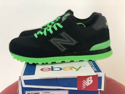 DS Mens New Balance 574 BLACK SUEDE Sizes 9.5-13 light green classics tradition