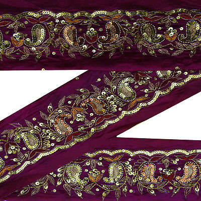 Indian Vintage Sari Lace Border Embroidered Purple Antique Ribbon Sewing 1Yd.