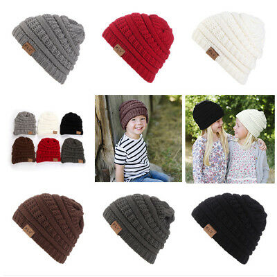 AL_ Outdoor Warm All-match Toddler Baby Beanie Hat Winter Knitted Ski Cap Trustf