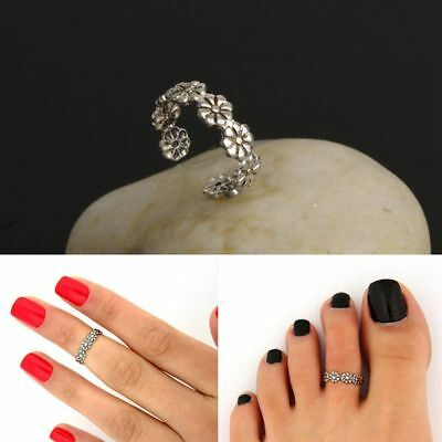 Ring Daisy Flower Small Vintage Foot Jewelry Adjustable Toe Joint Ring Retro
