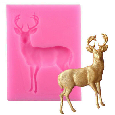 AL_ Christmas Deer Silicone Mold Fondant Cake Chocolate Cookie Decor Mould Showy