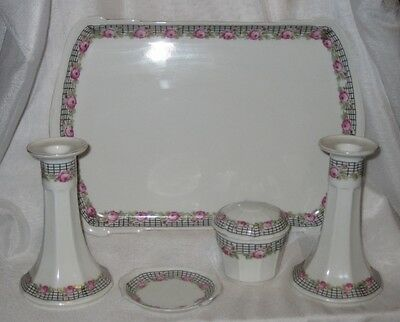 Vintage Czechoslovakian Porcelain Pottery Dressing Table Trinket  Set
