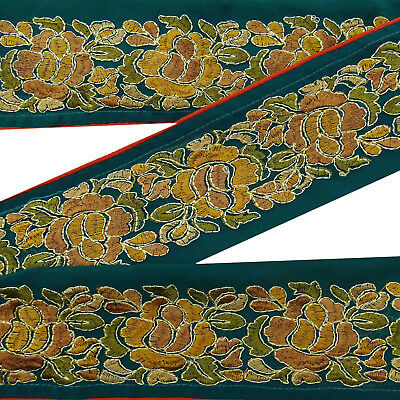 Indian Vintage Green Embroidered Sari Border Antique Ribbon Sewing 1Yard Lace.