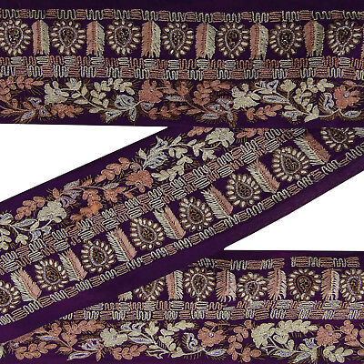 Vintage Indian Embroidered Antique Sari Border Purple Ribbon Sewing 1Yd Lace.