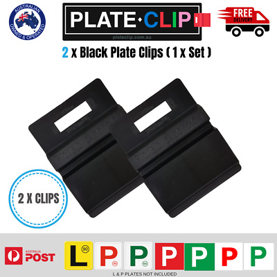 2 x Black Plate Clip L & P Plate Holders | Clip It On | FREE Postage!