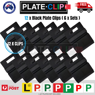 12 x Black Plate Clips L & P Plate Holders | Clip it On | Only $1.80 a Set