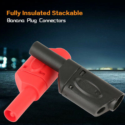 10Pcs 4mm Red/Black Safety Fully Insulated Stackable Banana Plug Connectors