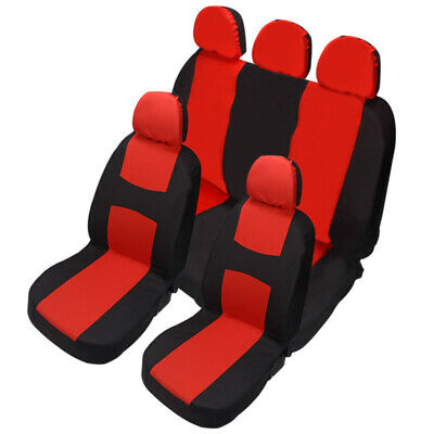 Red Car Seat Covers Protectors Universal washable full set front rear head rests