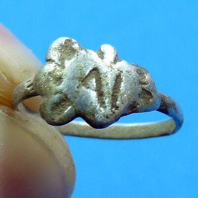 Awesome Ancient Medieval Heart Swords Shaped Silver Ring Xvi Century Old