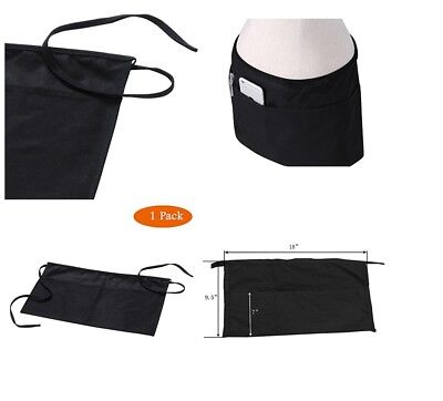 Black 3 Pockets Kitchen Waist Half Apron Restaurant Servers Waitres Money Holder