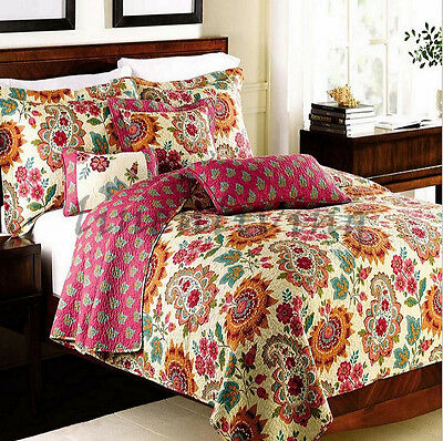 Reversible Quilted Cotton Patchwork Coverlet Bedspread 3pc Set Queen King MP020