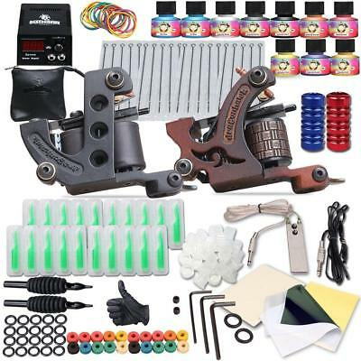 Complete Tattoo Kit 2 Machine Gun 10 Color LED Power Supply Inks Lining Shading