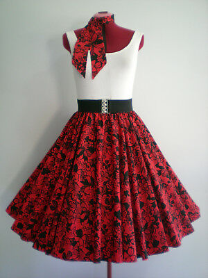 "ROCK N ROLL/ROCKABILLY ""Hibiscus"" SKIRT-SCARF M-L Red/Black."