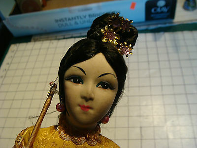 vintage doll: early  DOLL, tall beautiful girl doll on stand, long fingers