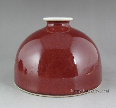 Rare Chinese Monochrome Ox-blood Red Glaze Porcelain Zun Vase with Mark