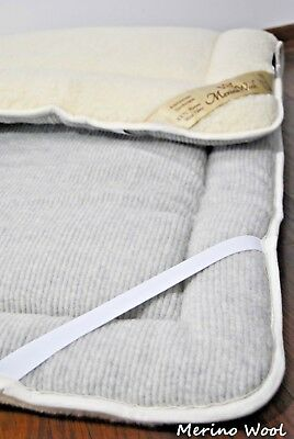 GREY ORTHOPEADIC THICK Merino Wool PERUGIANO Natural Mattress Topper Pad *New*