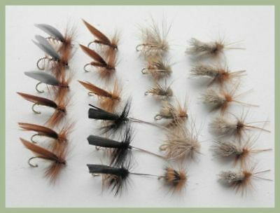 Sedge Dry Trout Flies, 24 Pack Elk, Deer, Brown, G & H & More, Mixed Size