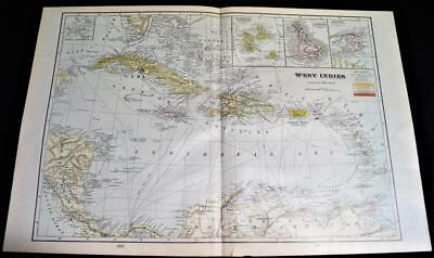West Indies Haiti Santo Domingo Atlas Map Page Plate 1908 Vintage George F. Cram