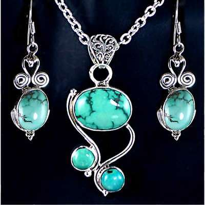 4/PC_*GRACEFUL TURQUOISE*_EARRING & PENDANT SET_w/CHAIN__925 STERLING SILVER