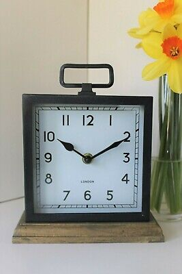 Contemporary Black Metal Mantle Clock Table Clock On Wooden Base With Handle