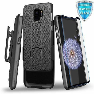 For Samsung Galaxy S9 Kickstand Case Shockproof Holster Belt Clip Tempered Glass