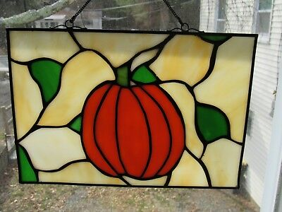 "Real Hand Made Leaded Stained Glass Pumpkin Suncatcher/Panel 7"" by 10"""