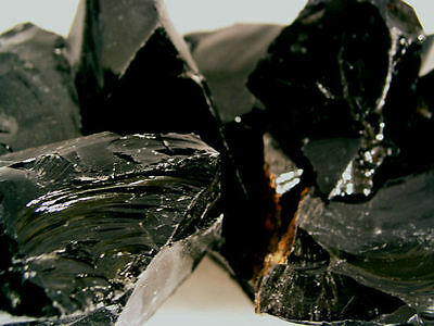Obsidian Black mine rough all natural Mexico 1 pound lots 4-8 pieces
