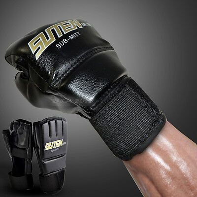 Men MMA Muay Thai Training Punching Bag Half Mitts Sparring Boxing Gloves Gym UK
