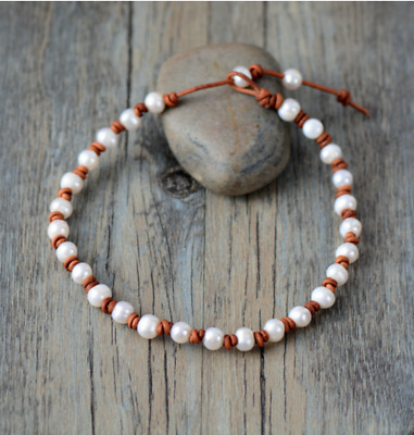 Genuine Freshwater Pearl Choker Leather knotted Necklace wrap bracelet cream