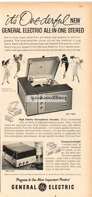 1959 G-E GENERAL ELECTRIC RP1150 1115 Portable Stereo Record Player VTG Print Ad