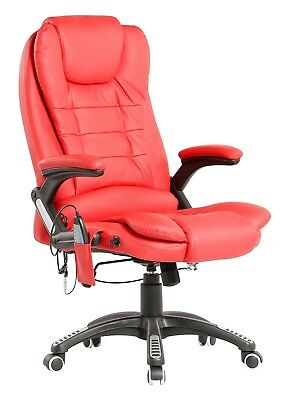 Executive Red Leather Reclining Massage Office Computer Swivel Chair With Heat