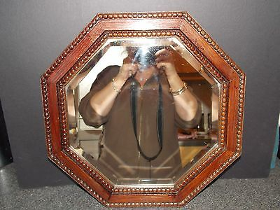 Vintage mirror1930s solid oak octagonal mirror bevel edge glass  49cm all origin