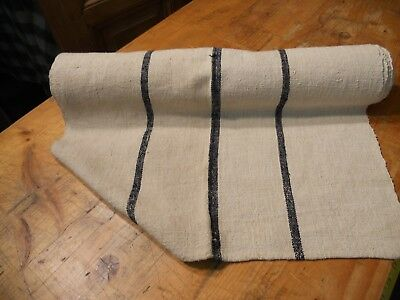 A Homespun Linen Hemp/Flax Yardage 6 Yards x 22'' Blue Stirpes  #10565