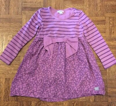 Girls Naartjie Kids Shirt Top Purple Stripe Floral Size Small Good Condtion
