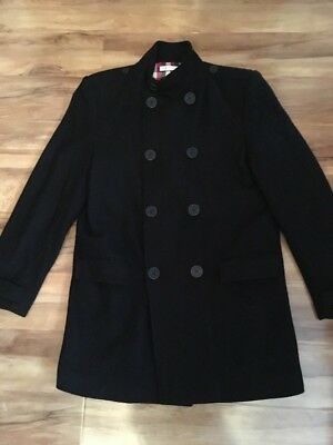 M&S Autograph Boys Black Winter Double Breasted Pea Coat Age 13-14y