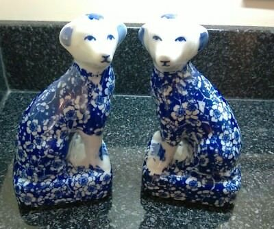 Vintage Pair Staffordshire Dogs Oriental Japanese / Chinese Ceramic Dogs Figures