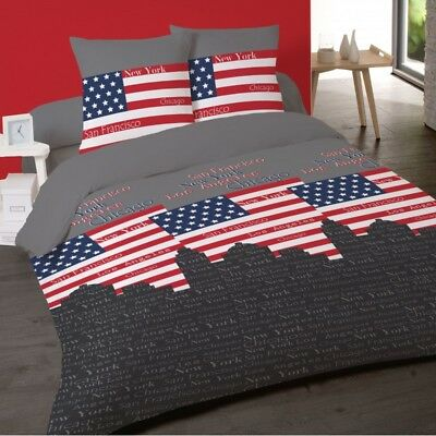 Housse de couette USA  CITIES 240 x 220 +2 Taies  Coton