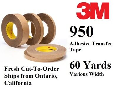 Free Shipping 3M 950 60yd Adhesive Transfer Tape Various Width Cut Order