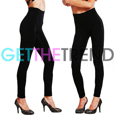 Womens Seamless Leggings Ladies Plain Black Stretch Women Full Length Legging