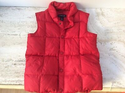 Lands End Kids Red Down Puffer Puffy Vest Youth Boys Girls Size L 6x-7  EUC