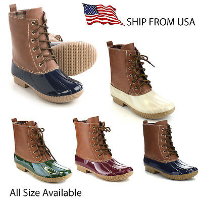 Women's Two Tone Lace Up Combat Style Calf High Rain Duck Boots by Yoki Dylan