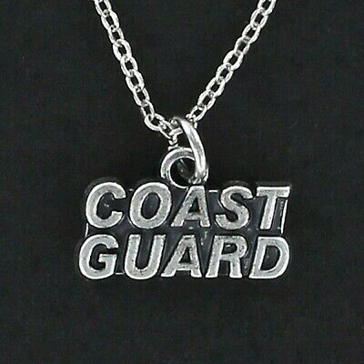 Coast Guard Necklace - Pewter Charm Soldier Service Armed Forces Ocean NEW