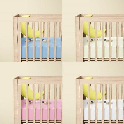 Boys & Girls Crib Fitted Sheets 100% Cotton Jersey Size 40cm x 90cm Pack of 2